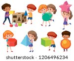 children with math shape... | Shutterstock .eps vector #1206496234