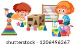 kids playing with math toy... | Shutterstock .eps vector #1206496267