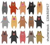 set of funny boars | Shutterstock .eps vector #1206503917