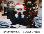 tired man working with... | Shutterstock . vector #1206507001
