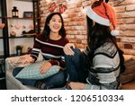 christmas girls talking and... | Shutterstock . vector #1206510334