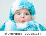 Stock photo cute baby at winter background 120651157