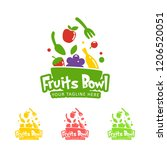 happy healthy smoothie fruits... | Shutterstock .eps vector #1206520051