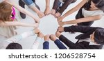 multicultural hands synergy... | Shutterstock . vector #1206528754