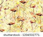 boho flamingo abstract seamless ...   Shutterstock . vector #1206532771