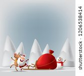 santa claus with deers and... | Shutterstock .eps vector #1206538414