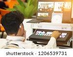 technicians are controlling... | Shutterstock . vector #1206539731