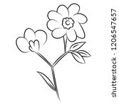 line drawing of flowers  nature ... | Shutterstock .eps vector #1206547657