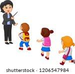 cartoon teacher and school kids | Shutterstock .eps vector #1206547984