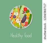 healthy food. plate with... | Shutterstock . vector #1206583717