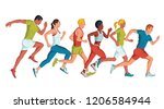 running marathon  people run  ... | Shutterstock .eps vector #1206584944