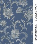 baroque damask pattern ...   Shutterstock . vector #1206587974