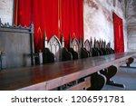 vintage throne room interior... | Shutterstock . vector #1206591781