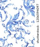 baroque damask pattern ...   Shutterstock . vector #1206594097