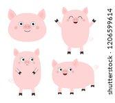 pig piglet set. cute cartoon...   Shutterstock .eps vector #1206599614