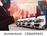 Small photo of People using Mobile phone and illustration connectivity to control truck fleet GPS with container depot shipping industry logistics background.