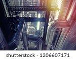 industrial steel pipelines ... | Shutterstock . vector #1206607171