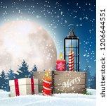 christmas still life  rustic... | Shutterstock .eps vector #1206644551