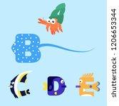 alphabet design of marine...   Shutterstock .eps vector #1206653344