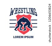 wrestling logo with text space... | Shutterstock .eps vector #1206653824