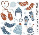cozy winter. vector set of cute ... | Shutterstock .eps vector #1206655201
