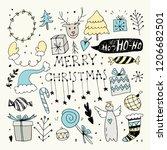 christmas doodle clip art...   Shutterstock .eps vector #1206682501