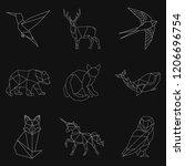 set of animal linear...   Shutterstock .eps vector #1206696754