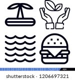 set of 4 nature outline icons... | Shutterstock .eps vector #1206697321