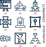 simple set of  9 outline icons... | Shutterstock .eps vector #1206698671