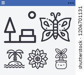 set of 5 nature outline icons... | Shutterstock .eps vector #1206701131