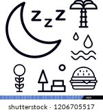 set of 6 nature outline icons... | Shutterstock .eps vector #1206705517