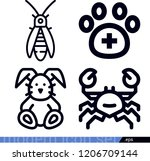 set of 4 animals outline icons...   Shutterstock .eps vector #1206709144