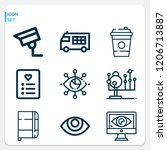 simple set of  9 outline icons... | Shutterstock .eps vector #1206713887