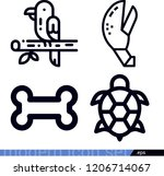 set of 4 animals outline icons...   Shutterstock .eps vector #1206714067