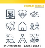 simple set of  9 outline icons... | Shutterstock .eps vector #1206715657