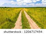 summer rural field road... | Shutterstock . vector #1206717454