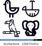 set of 4 animals outline icons...   Shutterstock .eps vector #1206721411