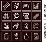 set of 16 food outline icons... | Shutterstock .eps vector #1206721504
