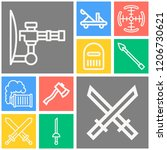 simple set of  10 outline icons ... | Shutterstock .eps vector #1206730621