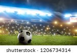 football ball on green grass of ... | Shutterstock . vector #1206734314