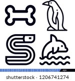 set of 4 animals outline icons...   Shutterstock .eps vector #1206741274