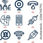simple set of  9 outline icons... | Shutterstock .eps vector #1206743791
