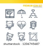 simple set of  9 outline icons... | Shutterstock .eps vector #1206745687