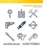 simple set of  9 outline icons... | Shutterstock .eps vector #1206745864