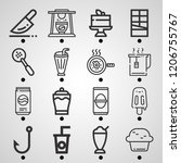 simple set of  16 outline icons ... | Shutterstock .eps vector #1206755767