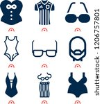 simple set of  9 filled icons... | Shutterstock .eps vector #1206757801