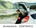 young travel man in sunglasses...   Shutterstock . vector #1206784411