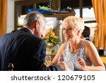senior couple fine dining food... | Shutterstock . vector #120679105