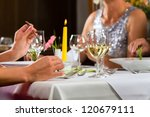 people fine dining food at... | Shutterstock . vector #120679111
