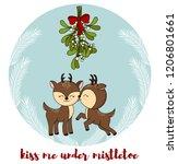 cute little deers kisses under... | Shutterstock .eps vector #1206801661
